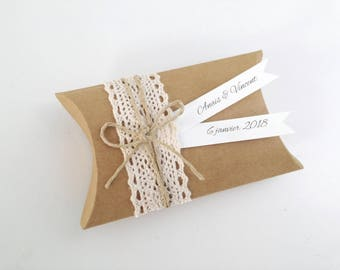 Box dragees kraft lace - thank you welcome birthday gift, baptism, wedding