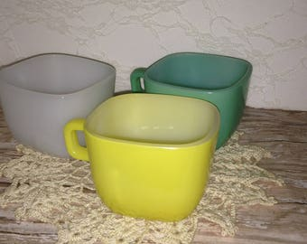 Vintage Set of Three Glasbake Mugs, Aqua Mug, Yellow Mug, White Mug, Vintage Set of Three Glasbake Mugs, White, Yellow, Aqua