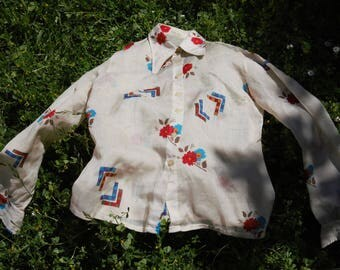 Shirt vintage 1960's Claude Lérins printed flowers and Plaid EU 36 US 4 UK 8
