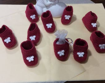 Set of 10 wool slippers. containers for baptism favors