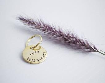 Personalized Brass Cat ID Tag // Hand Stamped Custom Pet Tag - Cat ID Tag - Cat Collar Name Tag - Dog ID Tag - Metal Pet Tag