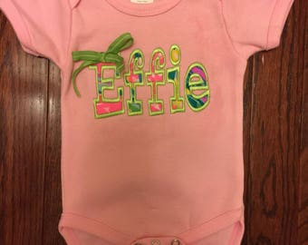 Inspired Lilly Pulitzer Personalized Name Applique Onesie with Attached Small Bow