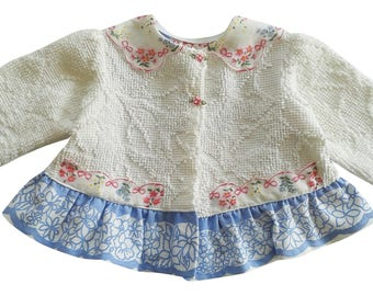 Vintage Blue and Pink Linens and White Vintage Chenille with Hanky Baby Jacket ~ 6-12 month