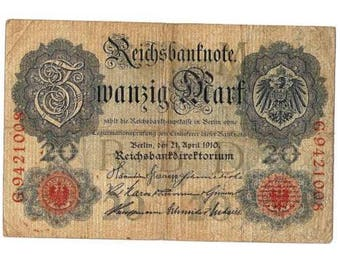 1910 German Empire 20 Mark Banknote