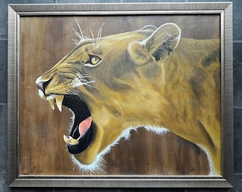 Original Lion Roar Painting Framed