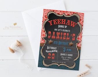 Cowboy Birthday Invitation / Digital Printable Birthday Invite for boys / Western Style / DIY Party
