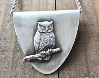 Owl pendant. Spoon necklace. Owl jewelry. Owl  necklace. Silverware necklace.  spoon necklace. spoon jewelry, silverware jewelry