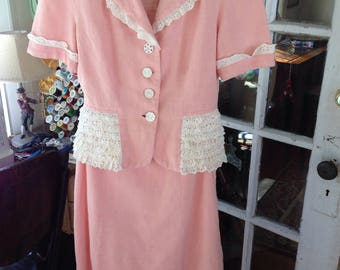 40's pink linen two piece dress with white eyelet ruffle trim