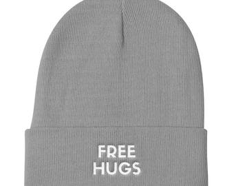 Knit Beanie, Beanie for Women, Beanie for Men, Slouchy Beanie, Slouchy Hat, Winter Beanie, Winter Hat, Free Hugs, Embroidered Hat