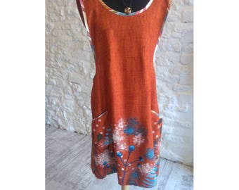 Linen Apron Dress with screen printed design & pocket detail.