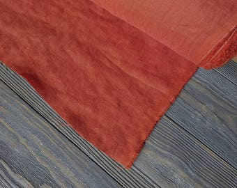 Softened rust linen fabric by the meter, natural linen rust color fabric, rust pre washed stonewashed linen fabric by the yard 7oz 200GSM