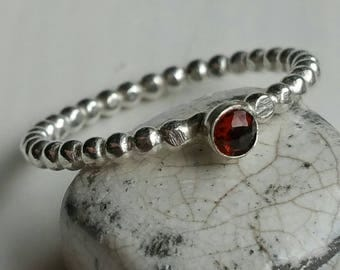 Silver Stacking Ring with 3mm Round Red GarnetSize 7.5 (0) - Postage Included