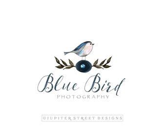 Watercolor Logo Design-Bird Logo-Photography Logo-Small Business Logo
