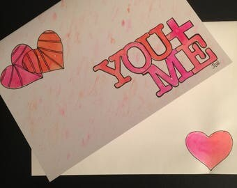 You & Me Hearts/Handpainted Watercolor Greeting Card