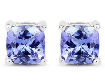 1.62 Carat AAA Genuine Tanzanite 14K White Gold Earrings Super Fine Quality