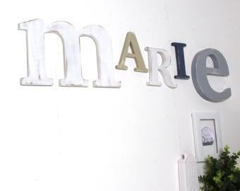 Prénom Marie  gris, blanc , taupe personnalisé  - mot géant - tête de lit - naissance - mylittledecor
