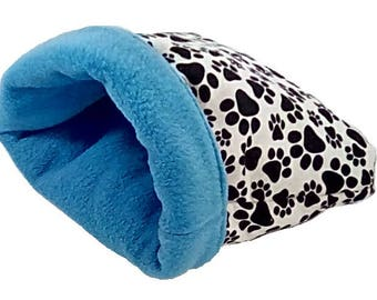 """Small 16"""" x 18"""" blue pawprint dog bed or cat bed, plush, reversible, 3 layers, blue"""