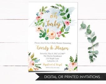 Baby Shower Invitation Girl, Baby Shower Invitation, Girl Baby Shower Invitation, Floral Baby Shower Invitation, Printed Invitations
