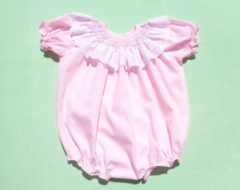 vintage baby togs baby girls romper with smocking size 12 months see measurements pink with white eyelet collar