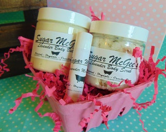 Our Classic All Natural Gift Set - Body butter, body scrub and lip balm your choice of flavor