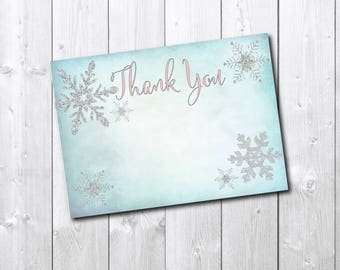 Winter Wonderland Thank You Note printable/INSTANT DOWNLOAD/gender reveal, winter notecard, winter thank you, baby shower, snowflake