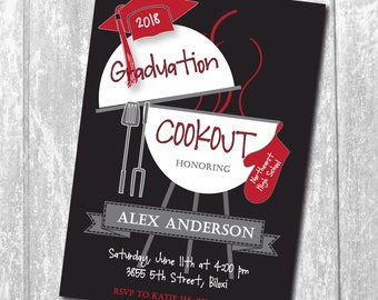 Graduation Cookout Party Invitation  printable/Digital File/bbq,grill, burgers, girl, boy, class of 2018/Wording & Colors can be changed