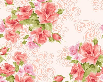 Paisley Romance Rose Clusters Pink Fabric