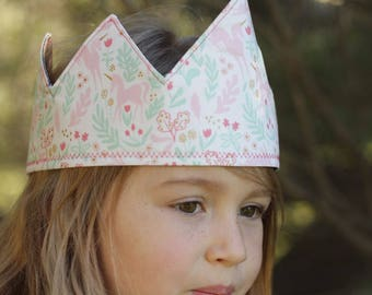 Children's dress-up crown or party hat: reversible, gold denim with pink prancing unicorns