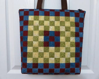 Quilted and Pieced Patchwork Tote, Zipper Tote (ZT010)
