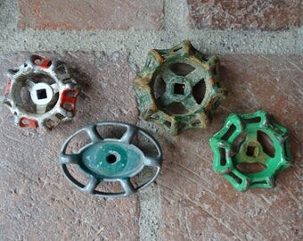 Set of 4 Vintage Metal Water Faucet Knobs, Four Industrial Valves as Shown to Repurpose and Recycle, Steampunk Treasures with Great Patina