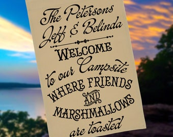 Personalized Campsite Flag or Wall Hanging, Welcome to Our Campsite Where Friends and Marshmallows are Toasted, Stand NOT Included