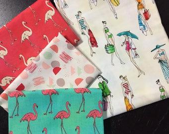 Flamingos and Beach Divas Curated Fabric Bundle - 4 Half Yard Cuts