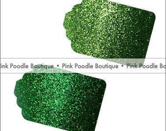 Glitter GIFT/FAVOR TAGS (12 pc) -- Kelly Green