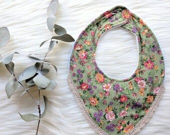 Boho Dribble Bib With Lace - Forest Flowers