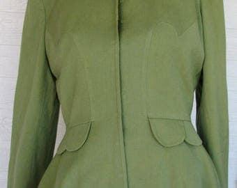 Vintage Jacket 1940s Olive Green Chas Kupersmith Scallops
