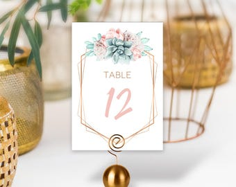Succulent Table Numbers / Wedding Table / Blush Flower Succulent Bouquet Faux Metallic Copper Cactus ▷ PRINTED Table Numbers, Double-Sided