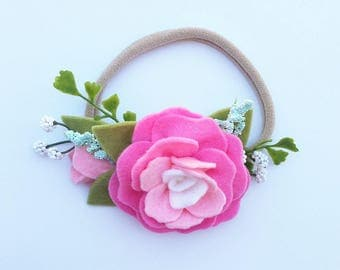 Pink Sugar Rose felt flower headband
