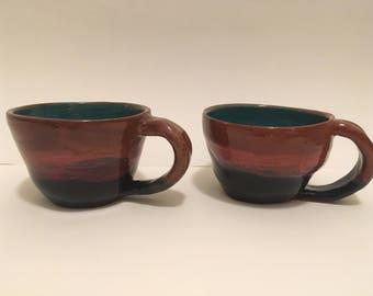 Teal and Brown Mug Set