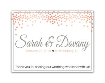 "4"" x 3""  Personalized Welcome Box Labels -  30 Wedding Welcome Bag Labels - Favor Labels - Welcome Stickers - Box Stickers - Pink Blush Dots"