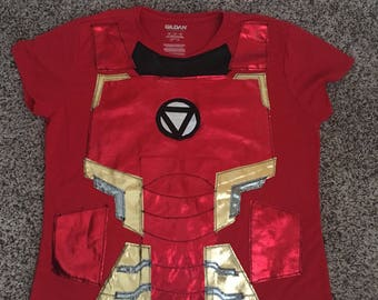 MENS Red Iron Man Running Outfit /Performance Top ONLY / Costume Halloween