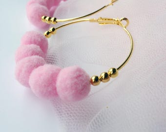 Gold tone hoop earrings with beads and pom poms, beaded hoop earrings, pom pom earrings, pale pastel pink pom poms