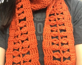 Crocheted autumn leaf scarf