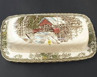 Johnson Bros The Friendly Village Butter Dish, Covered Butter Dish, Lidded Butter Dish, Vintage Butter Dish, 1950s Butter Dish