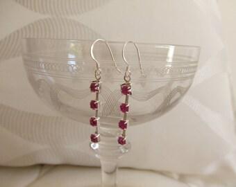 4 colors fuchsia rhinestone earrings