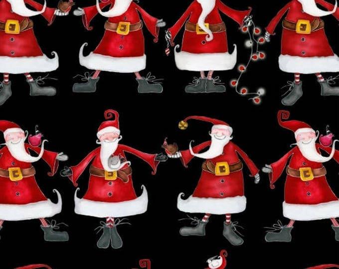 Around Town Christmas by Studio E - Santa on Black - Cotton Woven Fabric