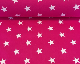 White Stars on Cerise Cotton Poplin Fabric, Star Fabric - 100% Cotton, Fat Quarter