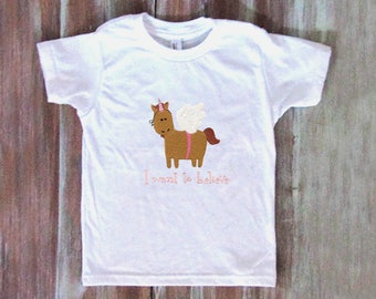 Unicorn Girls T-Shirt-Embroidered Girls Top-Cute Little Girls Tee-Embroidered Unicorn Kids Top