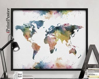 World map art, large world map print, world map, world map watercolour, world map poster, travel gift, wall art, Home Decor, iPrintPoster