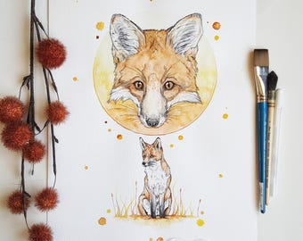 fox print, fox art, fox decor, fox nursery decor, fox decor, fox painting, woodland creatures, woodland animals, woodland decor, fox gifts,