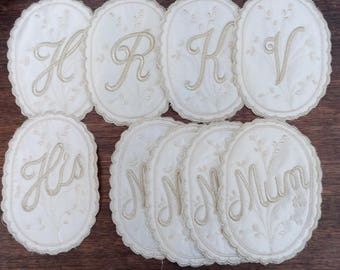 Selection of Embroidery patches, Initials, Mum, Bride, Groom, His, Cream Satin, Patchwork